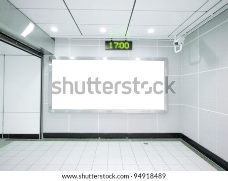 Three blank billboard in underground - stock photo