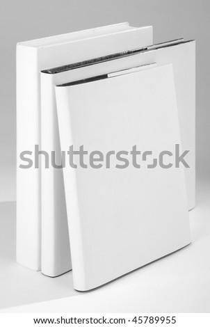 Three Blank book cover white - stock photo