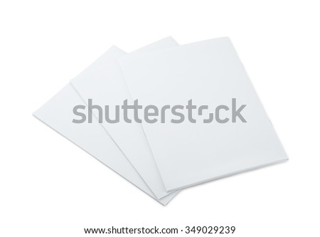 Three blank brochures isolated on white - stock photo