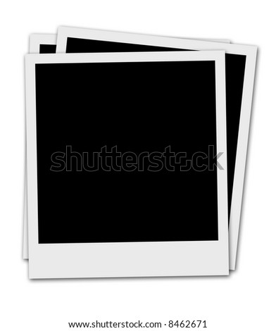 Three Blank  instant photo Pictures Empty For Own Photo Or Text - stock photo
