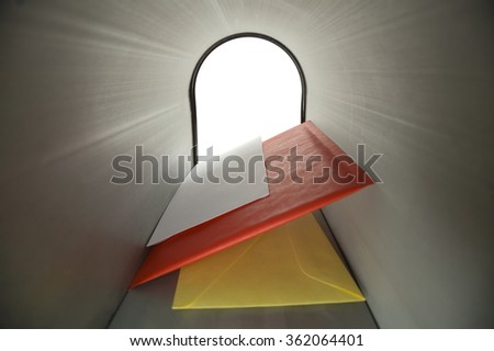 Three Blank Letters Inside Mailbox Looking Outward. - stock photo