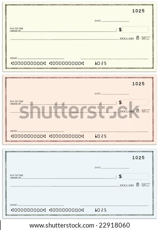 Three blank personal checks with no name and false account numbers in three different colors. - stock photo