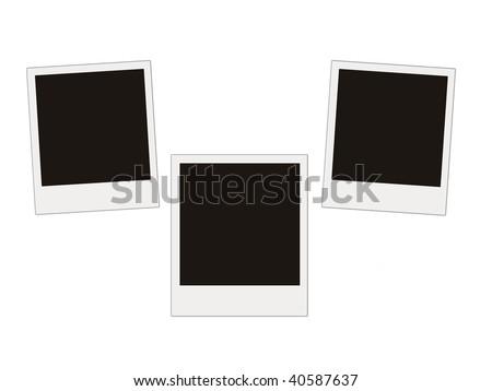 three blank photos isolated on white - stock photo