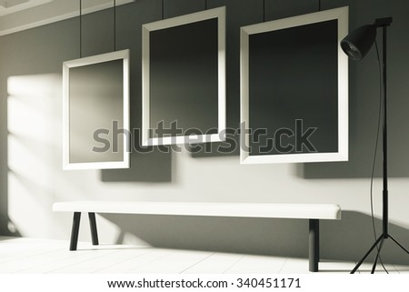 Three blank picture frame in a sunny gallery, mock up 3D Render - stock photo