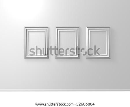 three blank picture frames on white wall - 3d illustration