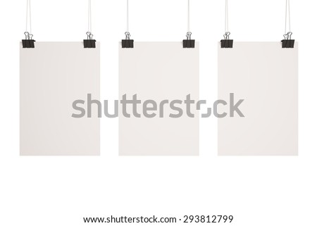 three blank poster on clips - stock photo