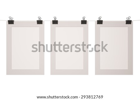 three blank poster on the border clips - stock photo