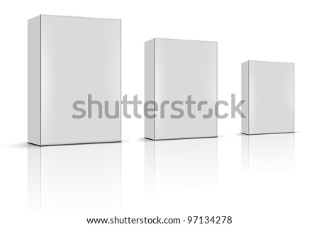 three blank product boxes - stock photo