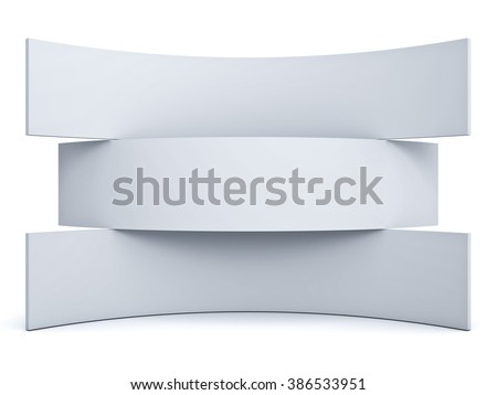 Three blank signboards isolated over white background - stock photo