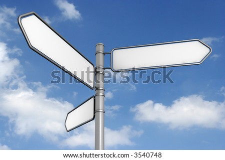 three blank signs, sky background. check my portfolio for variations.