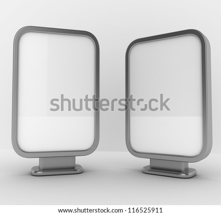 Three blank vertical billboards - stock photo