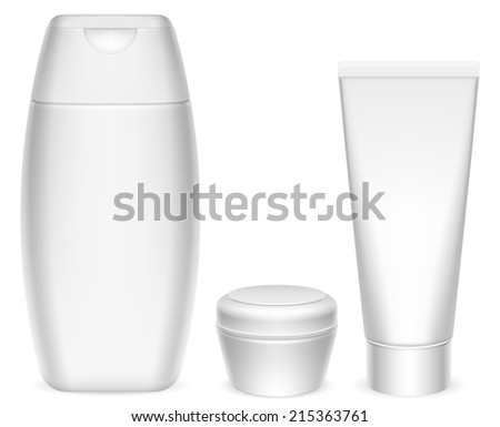 Three blank white cosmetics containers. - stock photo