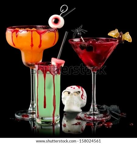 Three bloody Halloween cocktails  - stock photo