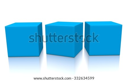 Three blue aligned 3d blank concept boxes with shadows isolated on white background. Rendered illustration.