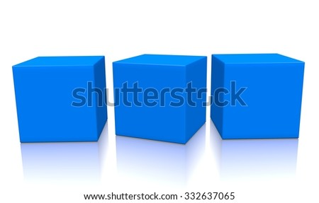 Three blue aligned 3d blank concept boxes with shadows isolated on white background. Rendered illustration. - stock photo