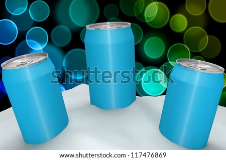Three blue Aluminum Can in ice-snow isolated on color bokeh - stock photo