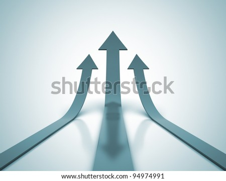 Three blue arrows going up - success concept illustration - stock photo