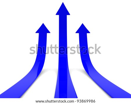 Three blue arrows going up - success concept illustration - 3d render