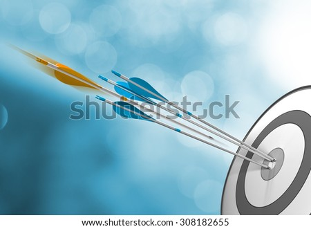Three blue arrows hitting target center plus an orange one in motion about to hit the bullseye. Concept image for success or goal attainment. - stock photo