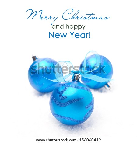 three blue Christmas balls, isolated on white background, close-up - stock photo