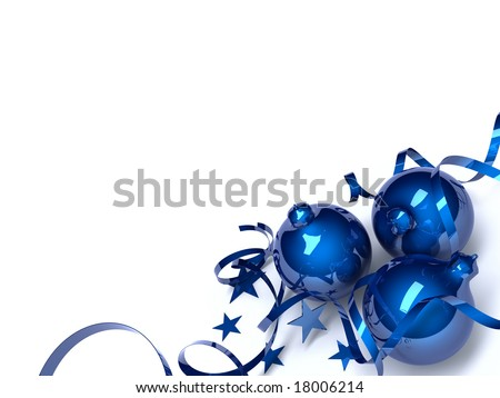 Three blue Christmas toys in an environment of stars and a tinsel on a white background - stock photo