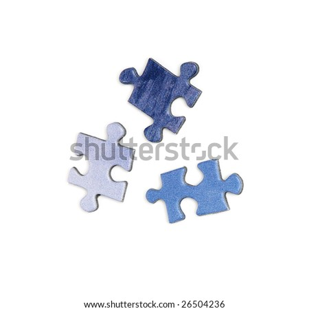 three blue colored elements of puzzle isolated over a white background