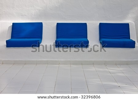 three blue cushions