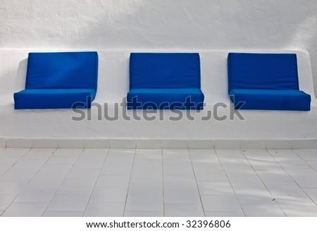 three blue cushions - stock photo