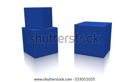 Three blue 3d blank concept boxes with shadows isolated on white background. Rendered illustration. - stock photo