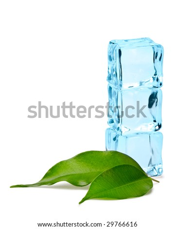 three blue ice cubes and two green leaves isolated - stock photo