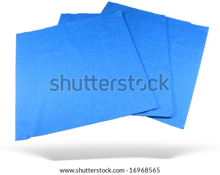 Three blue paper napkins with shadow isolated over white background - stock photo