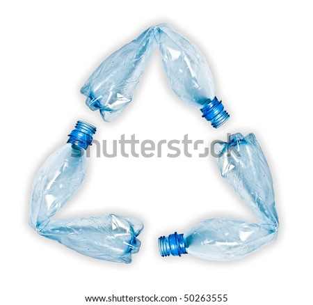 three blue plastic water bottles bent and put together to make up recycle symbol. Objects isolated on white with shadow preserved - stock photo