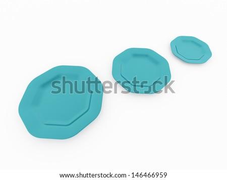Three blue plates on white background - stock photo