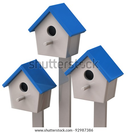 Three blue starling house isolated on white background - stock photo