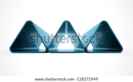 Three blue triangles isolated on white background - stock photo