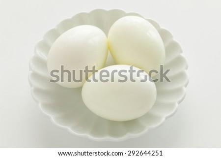 three boiled egg on dish - stock photo