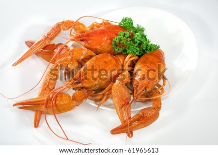 Three boiled lobsters on the plate - stock photo