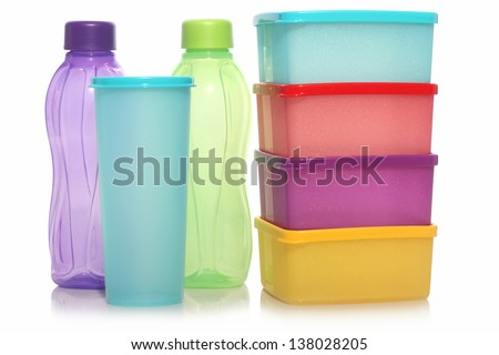 three bottles and four dining with wa colors, isolated on white background - stock photo