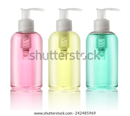 Three bottles of liquid soap isolated on white - stock photo