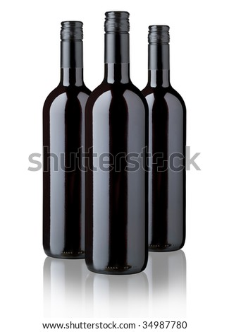 THREE BOTTLES OF RED WINE LABEL DESIGN
