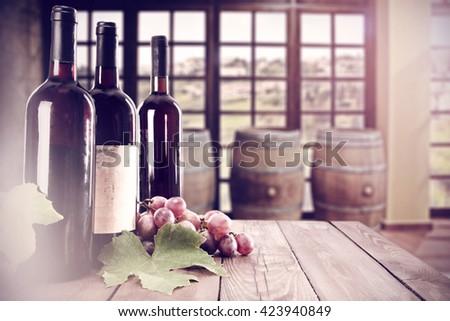 three bottles of wine  - stock photo