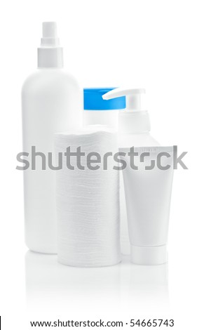 three bottles with pads and tube - stock photo