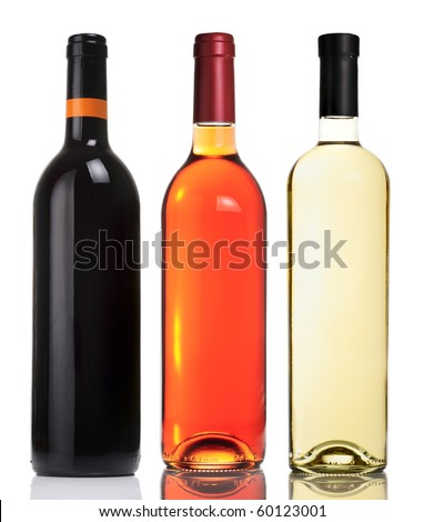 Three bottles with red, pink and white wines isolated on white. - stock photo