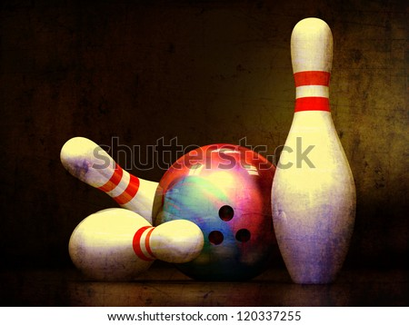 Three bowling pins and a bowling ball. - stock photo