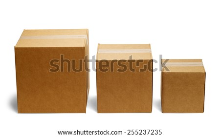 Three Boxes in a Row From Large to Small Isolated on a White Background. - stock photo