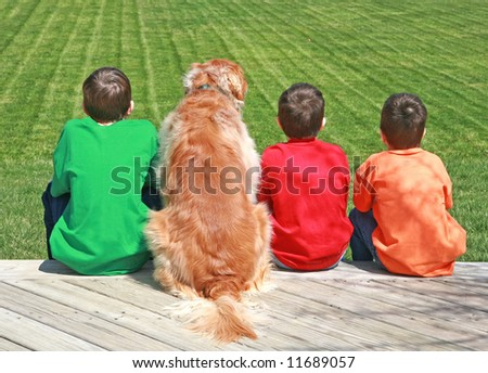 Three Boys and a Dog