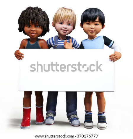 Three boys holding up a empty sign white board with room for your text or copy space advertisement on a white background. - stock photo