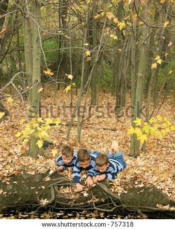 Three boys on leaf covered riverbank pointing at something interesting. - stock photo