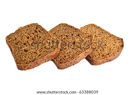Three bread slices, isolated on the white