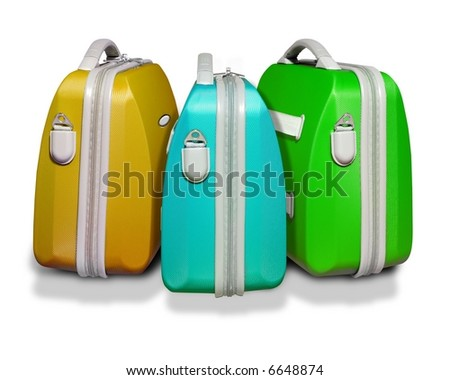 Three bright colored suitcases on white isolated background with clipping path supplied